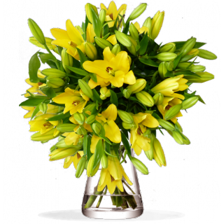 Bouquet lys du soleil jaune lilas rose for Bouquet de fleurs 24h