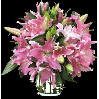 Bouquet Lys oriental rose